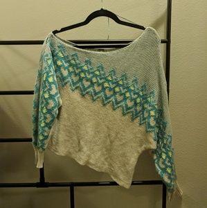 Blue Geometric Knit Off the shoulder sweater sz S